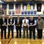 LL Wrestling Hall of Fame Inductees (L to R) Hob Kroesen, Aaron Anspach (father Jim, accepting), Mike Sernofsky, Ned Bushong and Tom Konas, presented by Donegal Principal John Felix