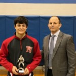 D Kenneth Ober Outstanding Wrestler, Gabe Miller, Pequea Valley, Conestoga Valley Coach Trent Turner